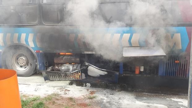 Ônibus do transporte coletivo pega fogo na GO-060, em Goiânia