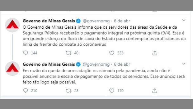 Minas é o primeiro Estado a atrasar pagamento do servidor por causa da pandemia