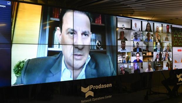 Senador Vanderlan Cardoso (PSD) em sessão plenária virtual