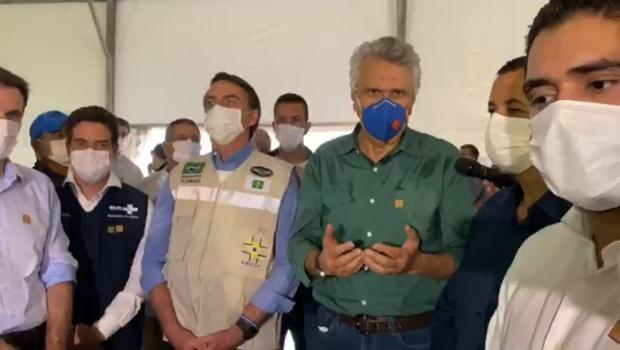 Ronaldo Caiado agradece Jair Bolsonaro por Hospital de Campanha de Águas Lindas