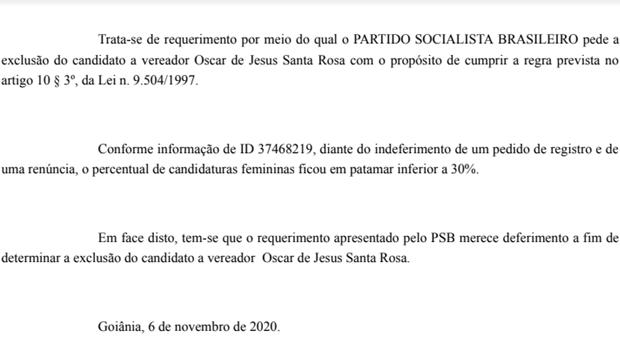 PSB apresenta documentação sobre o cumprimento da cota de gênero na eleição em Goiânia