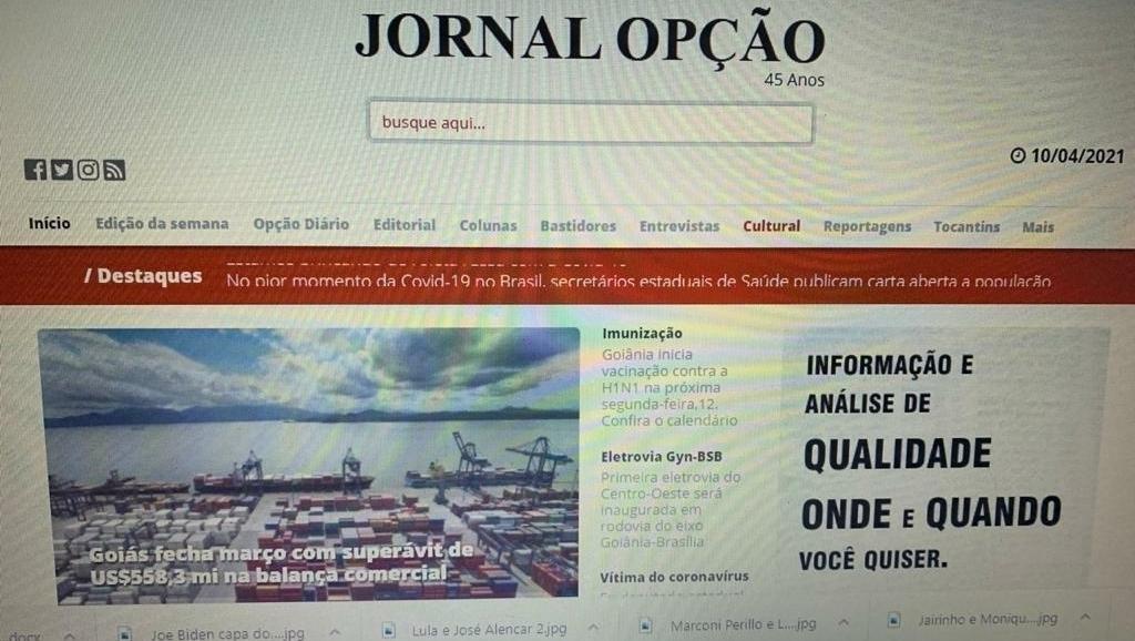 15 sites jornalísticos mais acessados de Goiás. Jornal Opção permanece na frente de O Popular