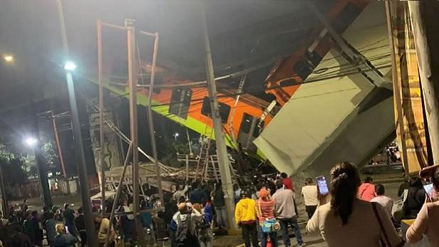 Vagões de metrô desabam após viaduto ceder no México; veja imagens do acidente