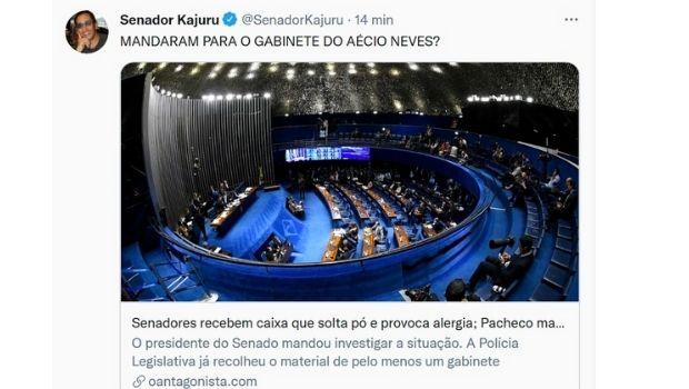 """""""Mandaram para o gabinete do Aécio Neves?"""", questiona Kajuru, no Twitter, sobre 'caixa que solta pó' no Senado"""