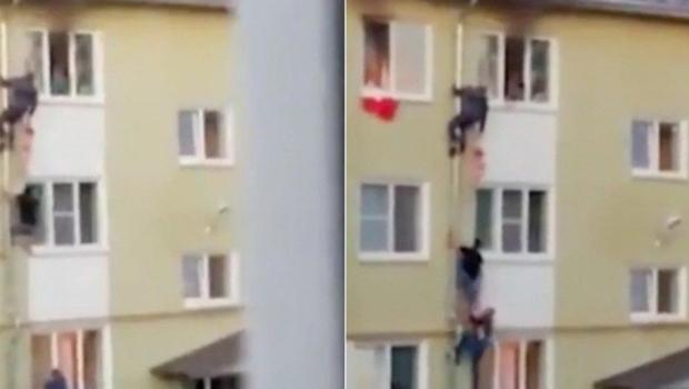 Homens escalam prédio para salvar crianças em incêndio; veja vídeo