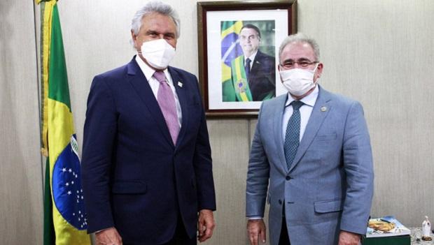 Caiado recebe o ministro Marcelo Queiroga para agenda em Goiânia