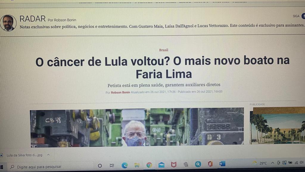 """Lula da Silva está com câncer? Revista """"Veja"""" sugere que se trata de boato"""