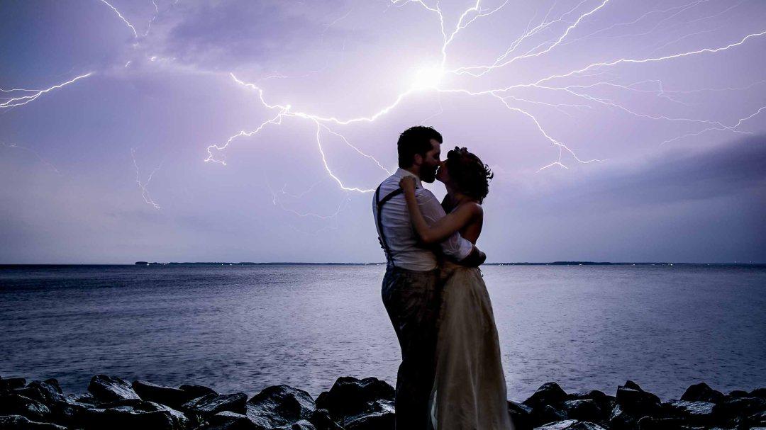 Bride and Groom in Lightning