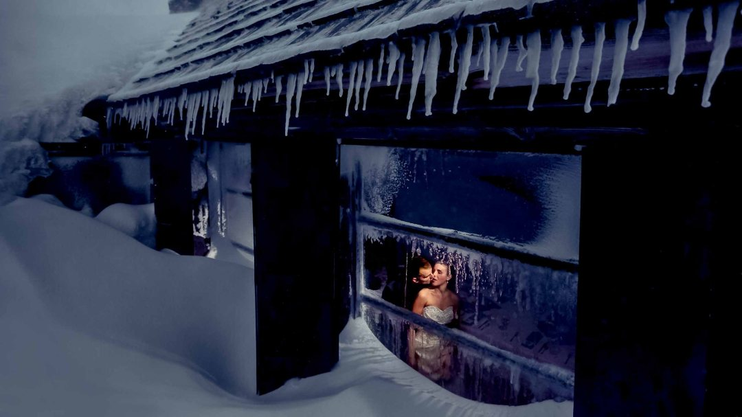 Bride and Groom at Silcox Hut with Icicles