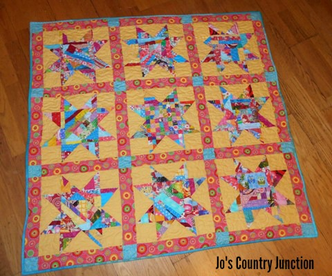 Scrappy Star Baby Quilt