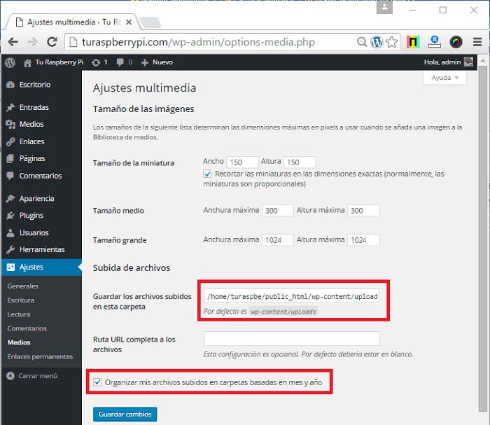 Cómo configurar ajustes de medios en WordPress