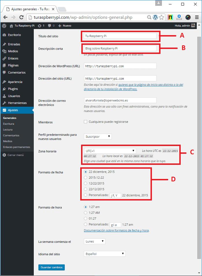 Cómo configurar ajustes generales en WordPress