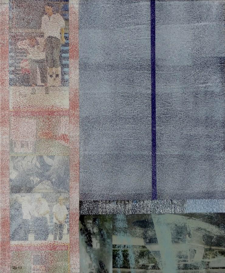 Impressions XVIII, 2013, Acrylique, Collage sur toile 46x38 cm