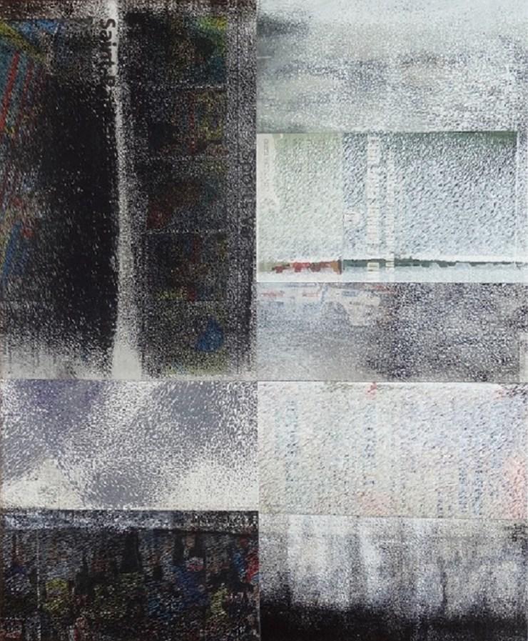 Impressions XIX, 2014, Acrylique, Collage sur toile 46x38 cm
