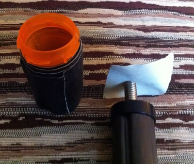 Pill bottle with gaffer's tape and Gitzo center column