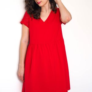 Vestido rojo espalda blonda 2 Josephine Looks