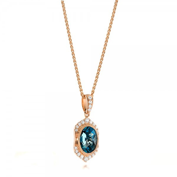 Rose Gold Diamond And London Blue Topaz Fashion Ring