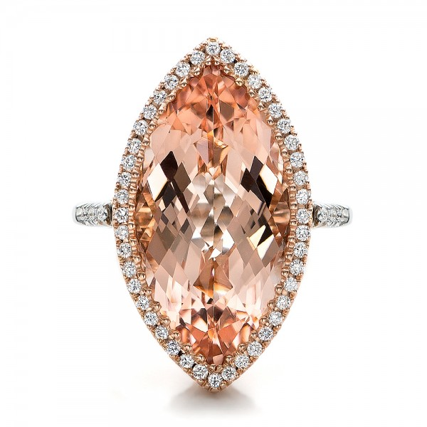 Marquise Morganite And Diamond Halo Ring 100797 Seattle