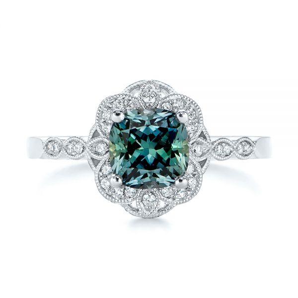 Custom Blue Green Montana Sapphire And Diamond Engagement Ring 104785 Seattle Bellevue