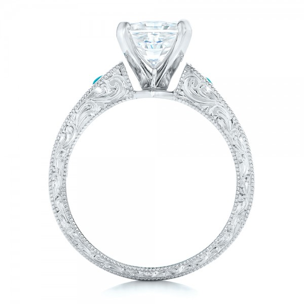 Custom Diamond And Turquoise Engagement Ring 102366