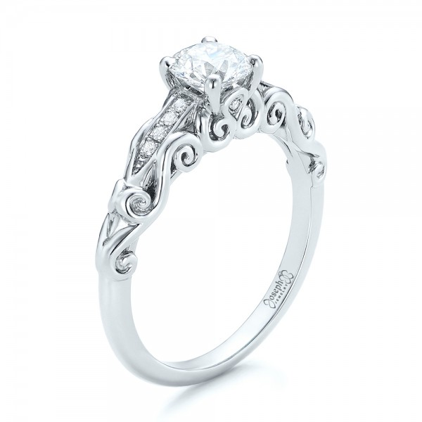Custom Blue Sapphire And Diamond Halo Engagement Ring