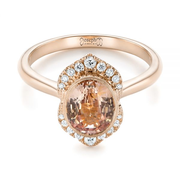 14k Rose Gold Custom Peach Sapphire And Diamond Halo Engagement Ring 104261 Seattle Bellevue