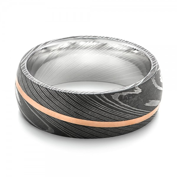Damascus Steel And 14k Rose Gold Wedding Band 103120