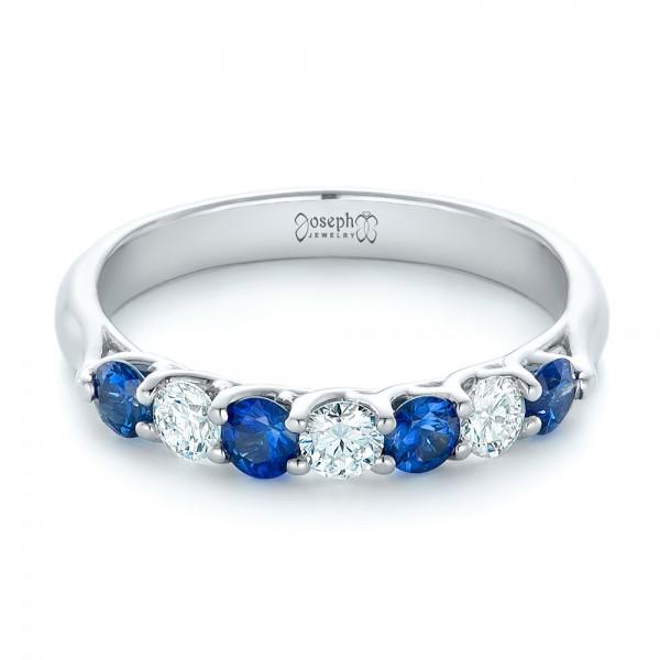 Custom Blue Sapphire And Diamond Wedding Band 102404