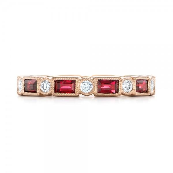 Custom Rose Gold Ruby And Diamond Eternity Wedding Band