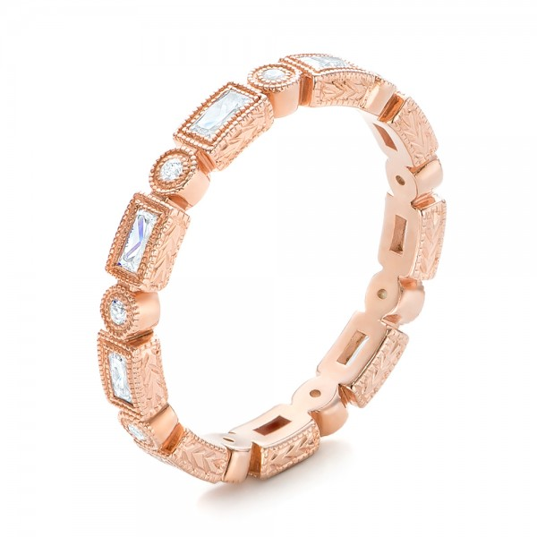 Rose Gold Round and Baguette Diamond Stackable Eternity Band     Rose Gold Round and Baguette Diamond Stackable Eternity Band    Three Quarter View   101943