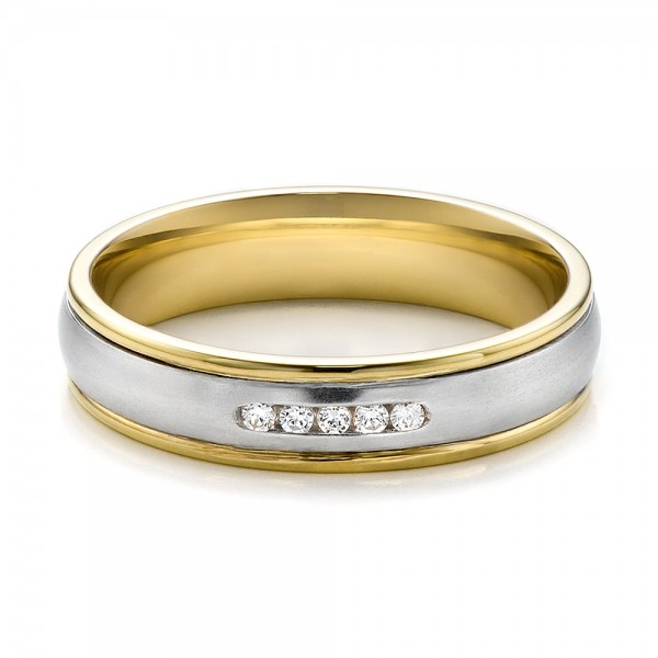 Womens Two Tone Gold And Diamond Wedding Band 100156