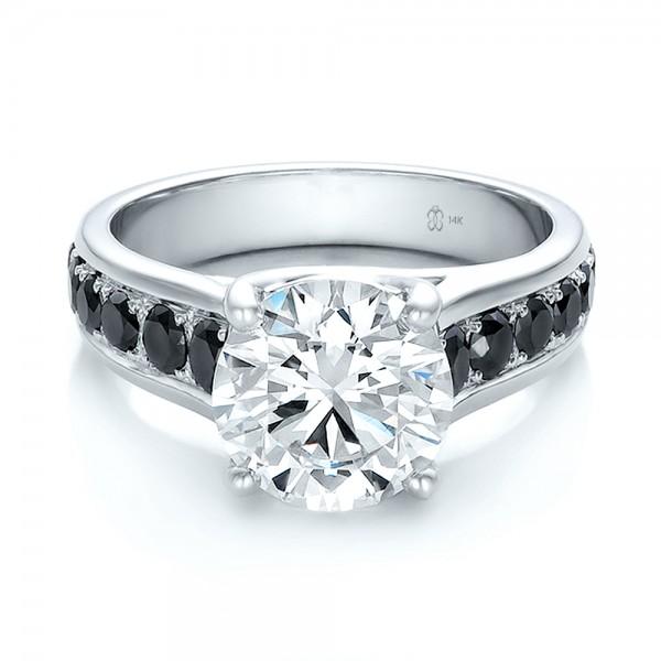 Custom Black And White Diamond Engagement Ring 100606