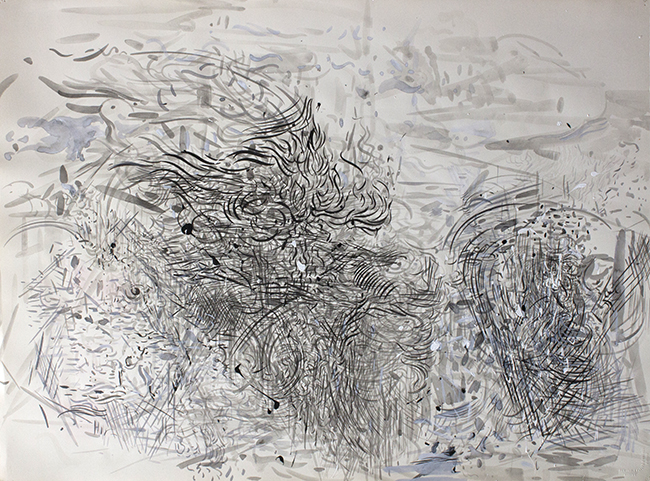 Thresher, indian ink and acrylic on paper, 22.25 x 30 inches, 1980.