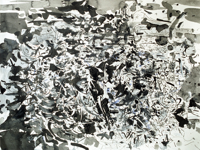 Belch, ink, gesso and acrylic on paper, 22 x 26 inches, 1980.
