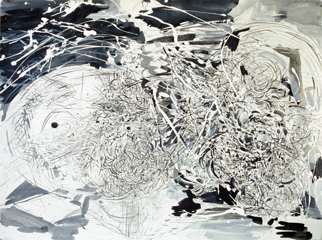 Crazy Cats, ink, gesso and acrylic on paper, 22 x 30 inches, 1980.