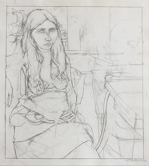 Rosie in Chair, pencil on backdrop paper, 14.125 x 13 inches, 1972.