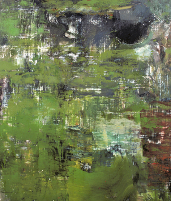 Untitled, oil and wax on masonite board, 14 x 11 7/8 inches, 1976-77.