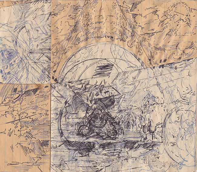 Dome, ballpoint pen on ledger paper, 7.75 x 8.75 inches, 1976.