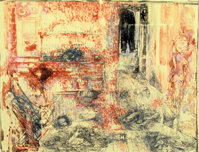 Study for Ca'del Mago, ballpoint pen, gouache, watercolor and indian ink on ledger paper, 18.75 x 24 inches, 1985. Collection of the artist.