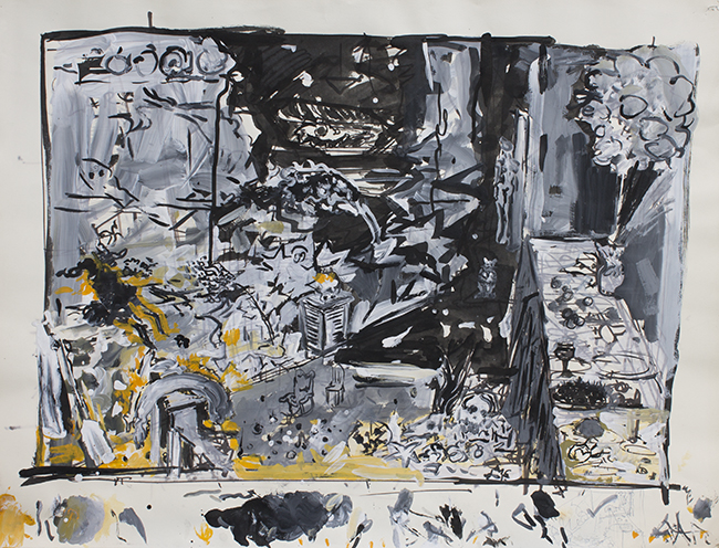 Study for In The Middle of the Room, oil, ink and gesso on paper, 22.75 x 19.75 inches, 1987.