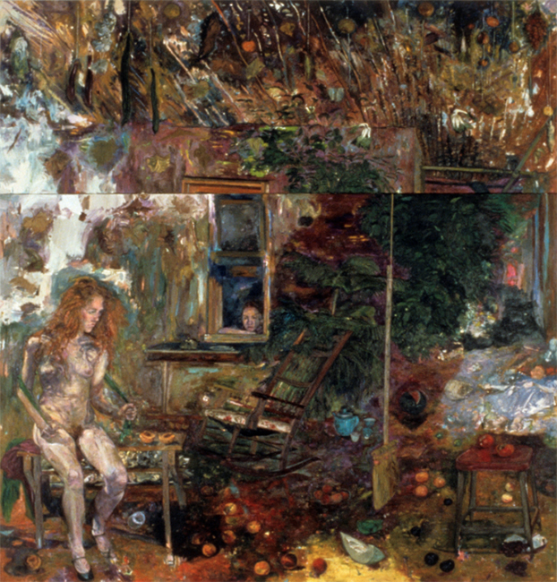 The White Hinge, oil on canvas, 9 x 8 1/2 feet, 1987. Collection of the Phoenix Museum of Art, Pheonix, AZ.