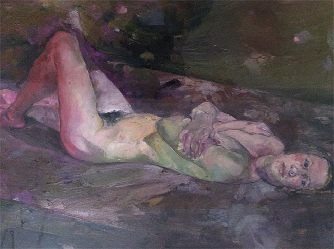 Agnese Two, oil on gessoed paper, 38 x 34 inches, 1990. Private collection.
