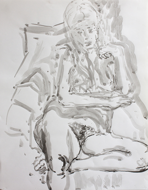 Ginny, ink and water on paper, 24.5 x 19.25 inches, 1990.