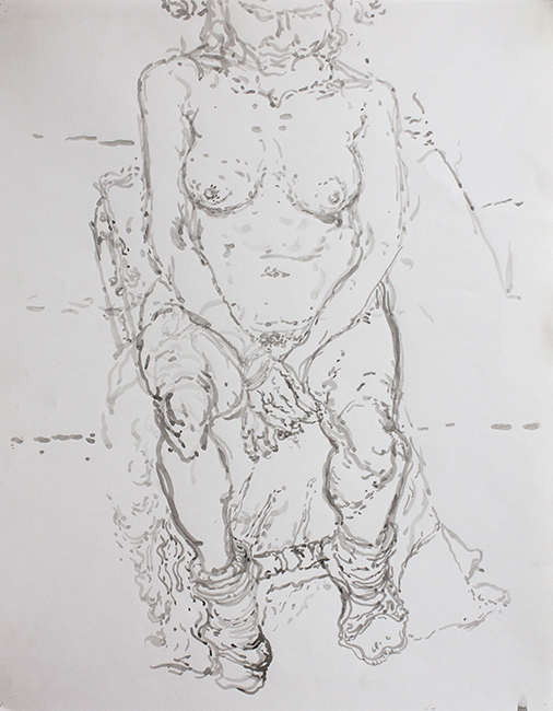 Susanna, ink and water on paper, 24.5 x 19.25 inches, 1990.