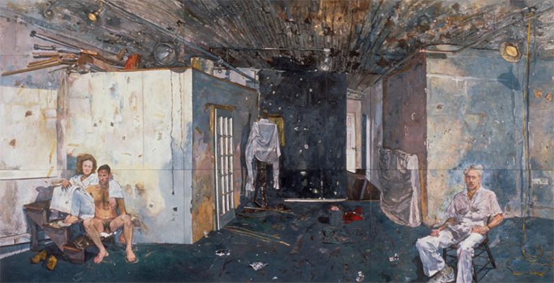 Titorelli's Studio, oil on canvas, 11 1/2 x 22 feet, 1991-93. Collection of the Phoenix Museum of Art, Phoenix, AZ.