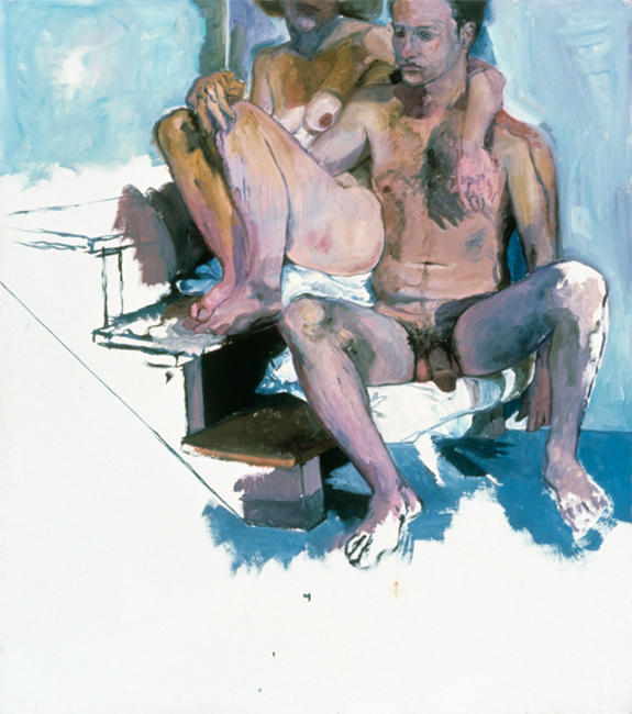 Nick and Andrea for Titorelli's Studio Two, oil on gessoed paper, 53 3/4 x 47 1/2 inches, 1991.