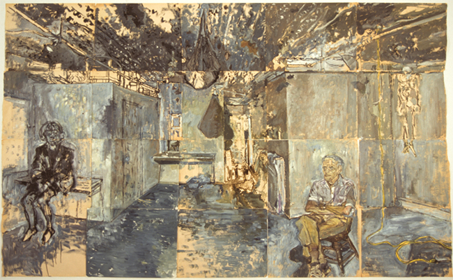 Study for Titorelli's Studio, oil paint and ink on newsprint, 71.75 x 117.25 inches (20 pieces), 1991.