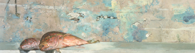 Red Snappers, oil on linen, 14 1/4 x 52 inches, 1993-94. Private collection.