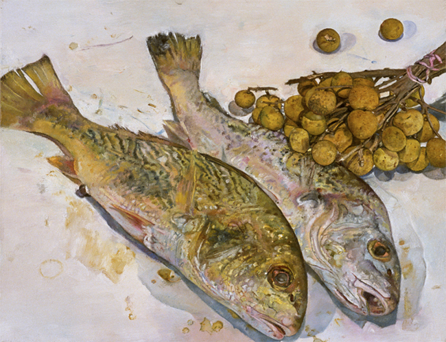 Yellow Croakers and Dragons Eyes, oil on canvas, 14 x 18 inches, 1994.