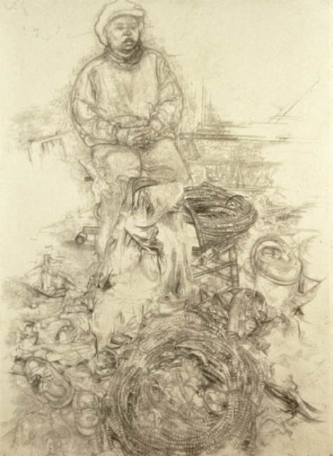 Claudette in Studio, pencil on watercolor paper, 32 x 24 inches, 1995. Private Collection.